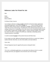feature Reference Letter For Friend For Job