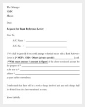 Request for Bank Reference Letter Template