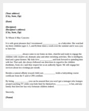 featuare Babysitter Reference Letter For Colleague