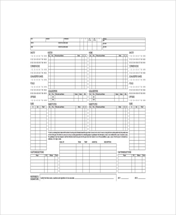 excel football scorecard sample