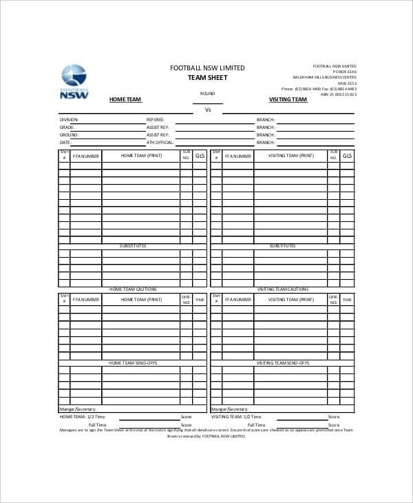 team football scoreboard example