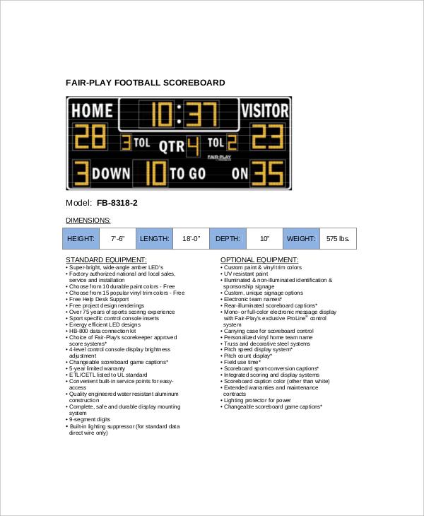 sample team football scoreboard