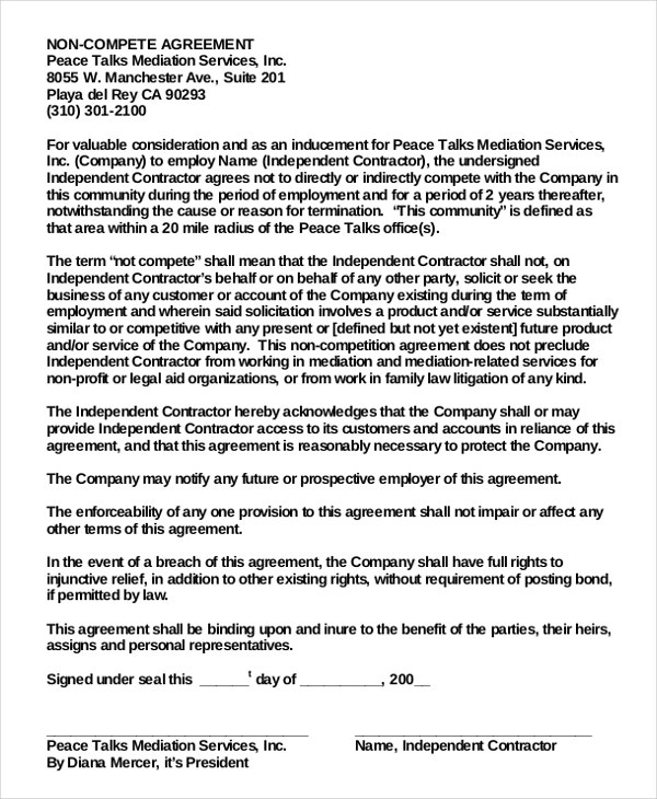 Employee NonCompete Agreement   Free Word Pdf Documents