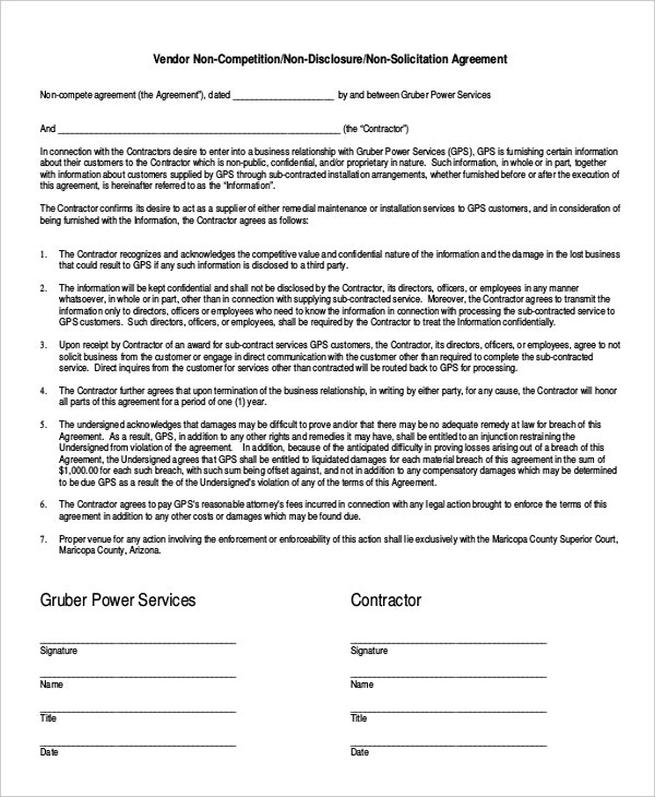 vendor non compete agreement