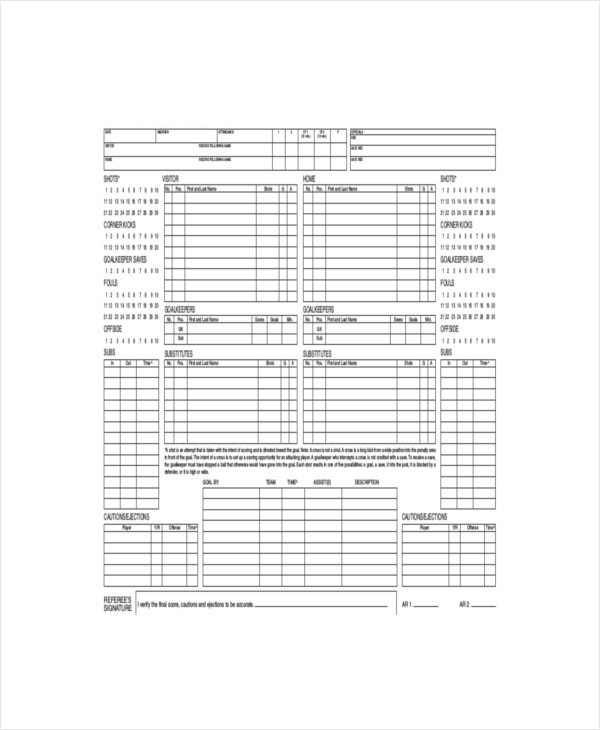 sample excel soccer scorecard