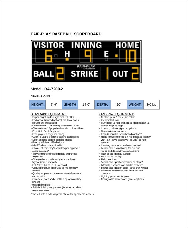fair play baseball scoreboard example
