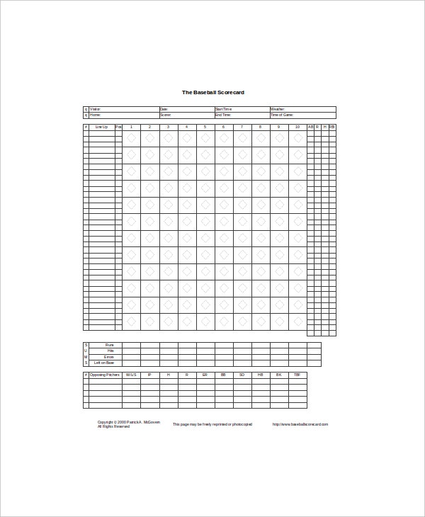 example score information in soft ball excel sheet