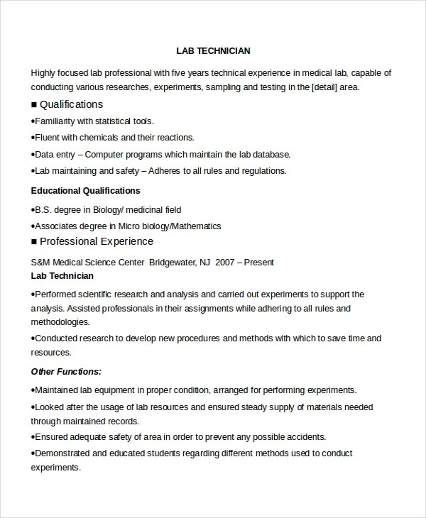 sample resume lab technician converza co