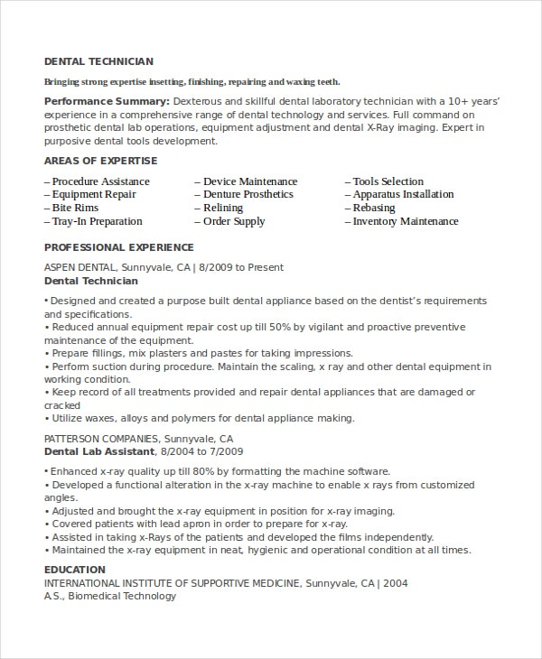 Dental Lab Technician Resume  Areas Of Expertise Examples