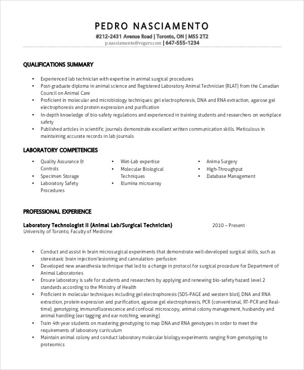 sample resume lab technician
