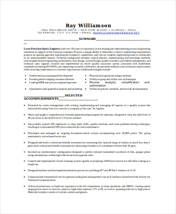 Optical Lab Technician Resume  Resume For Lab Technician