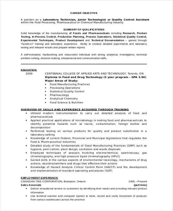 Nice Laboratory Technician Resume In Lab Technician Resume