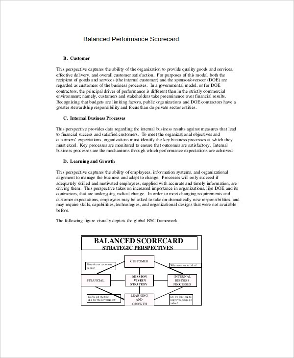 balanced performance scorecard sample