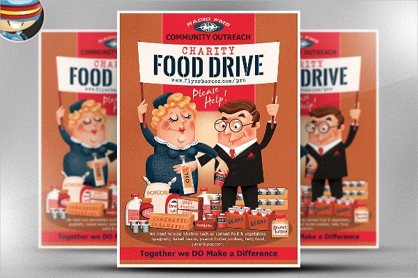 Charity Food Drive Flyer  Can Food Drive Flyer Template