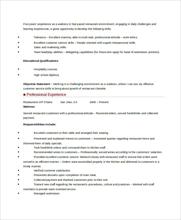 Hostess Resume Template   Free Word Document Downloads  Free