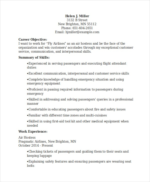 Hostess Resume Template - 6+ Free Word Document Downloads | Free ...