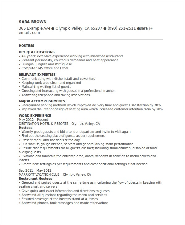 Club Hostess Resume