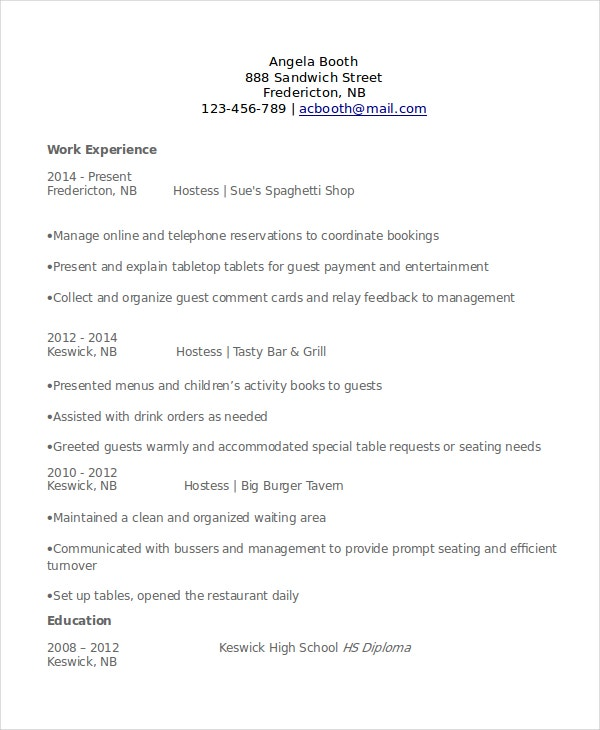 hostess experience resume