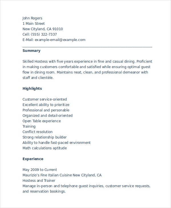 sample resume for hostess