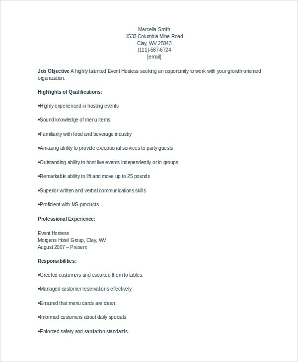 Hostess Resume | Resume Cv Cover Letter