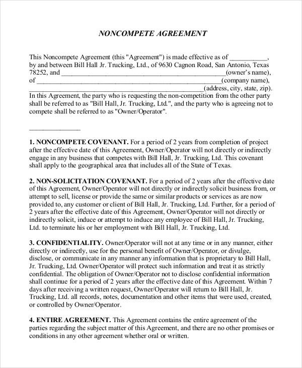 standard non compete agreement2
