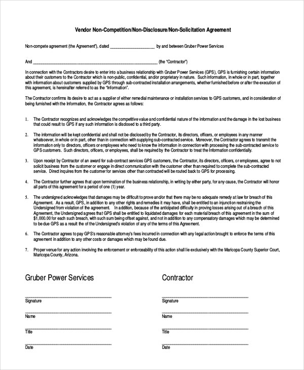 Contractor NonCompete Agreement   Free Word Pdf Documents