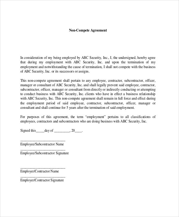 subcontractors agreement template - contractor non compete agreement 9 free word pdf