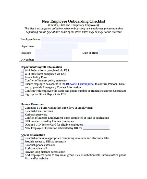 17 Checklist Templates Free Sample Example Format – Employee Contact Information Template