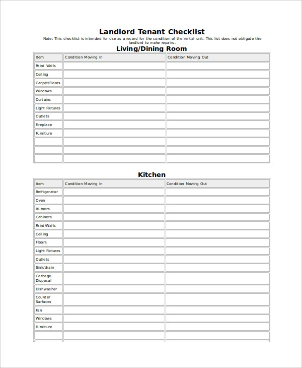 landlord tenant inventory checklist template