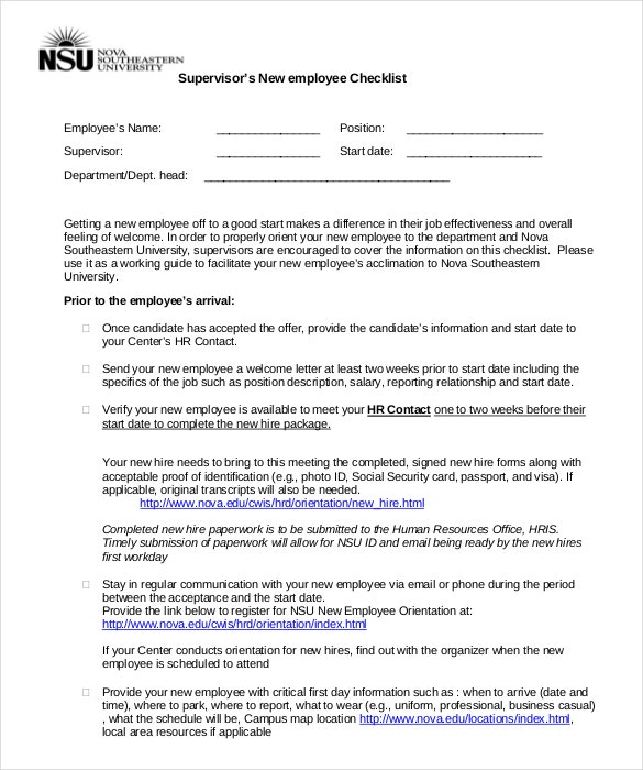 supervisor new employee hire checklist template
