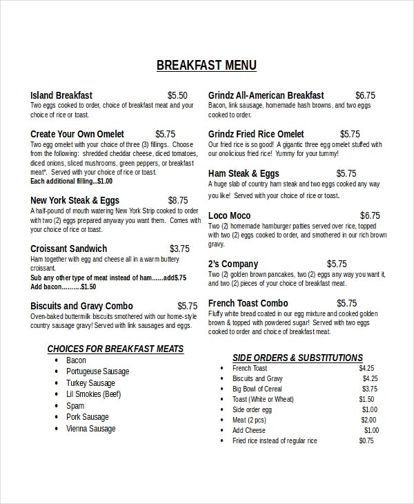 breakfast menu template