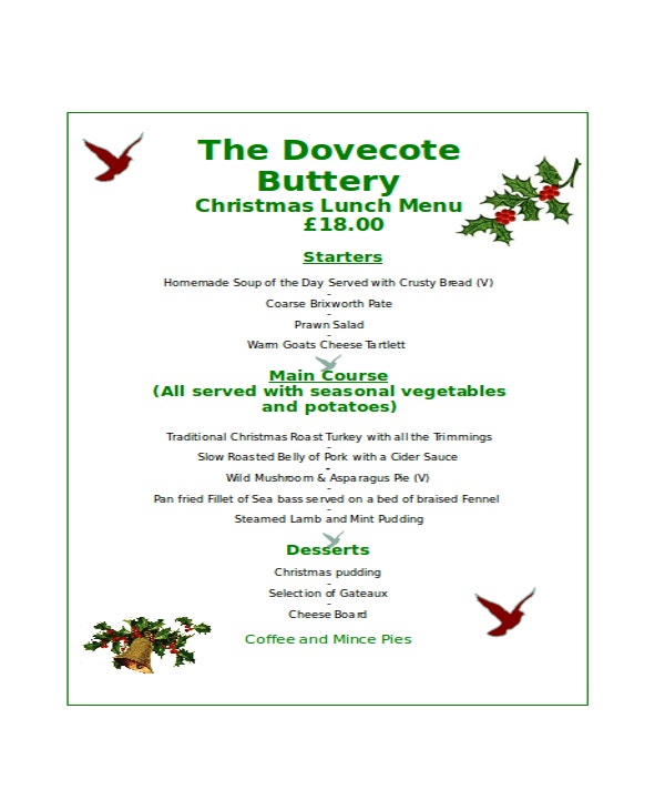 Christmas Menu Template  Free Xmas Menu Templates