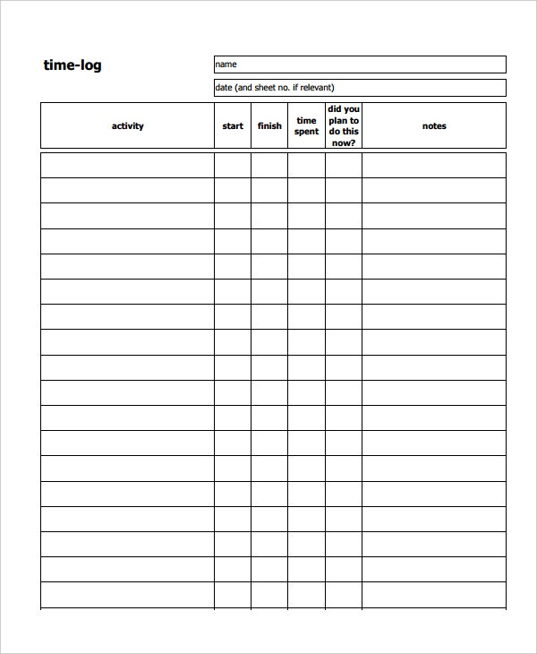 Time Log Sheets  BesikEightyCo