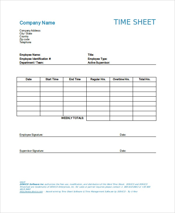 company time sheet template word