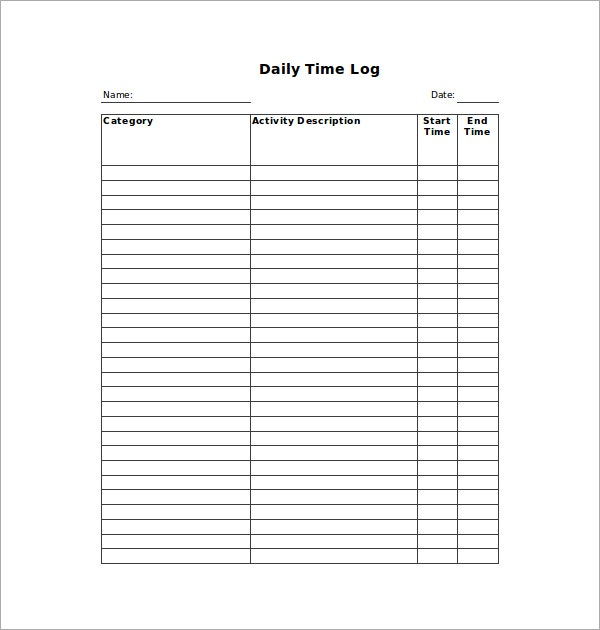 Daily Hour Log Template  Blank Calendars