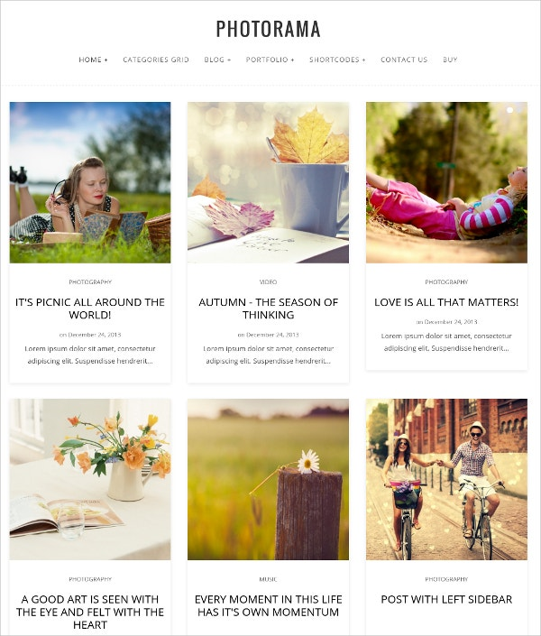 Creative Photography WordPress Parallax Theme $49