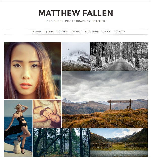 Minimal Photography WordPress Theme $39