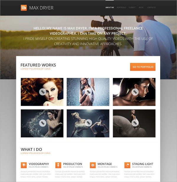 Innovative Photographer Portfolio WordPress Theme $75