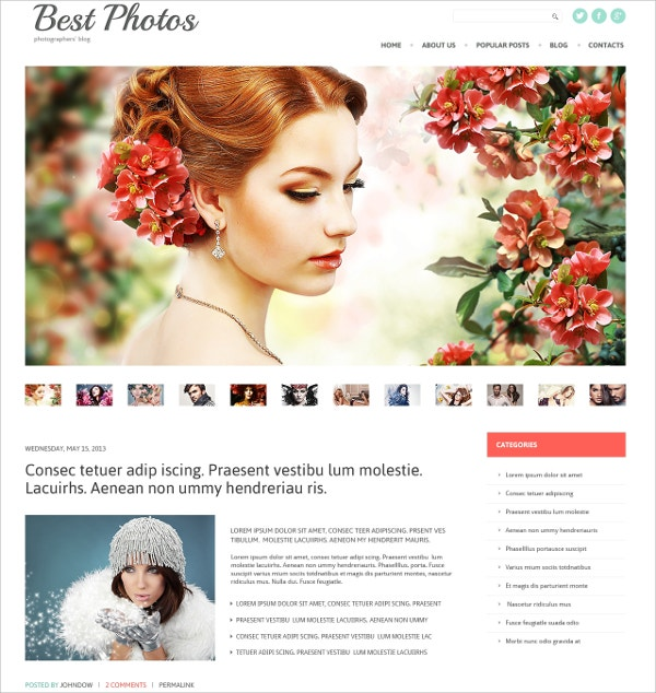 Best Photo & Video Blog WordPress Theme $75