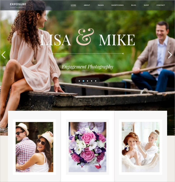 Responsive Photo WordPress Website Theme $55