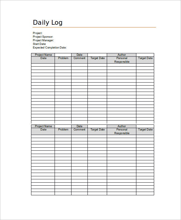 Daily Log Sheet