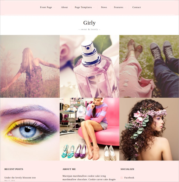 Feminine Girls Photography WordPress Theme $60