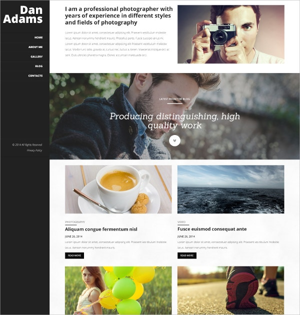 Professional Photography Portfolio WordPress Theme $75