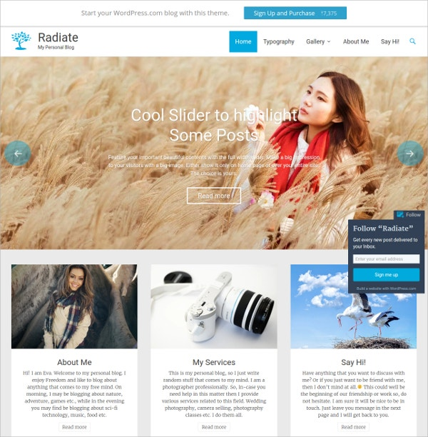 Simple Personal Photography WordPress Theme $59