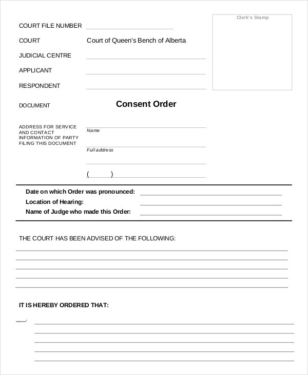 consent blank order templates1