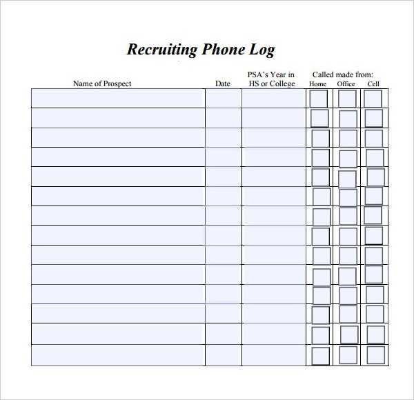 Phone Call Log Templates Call Log Template Ms Word File Word Log