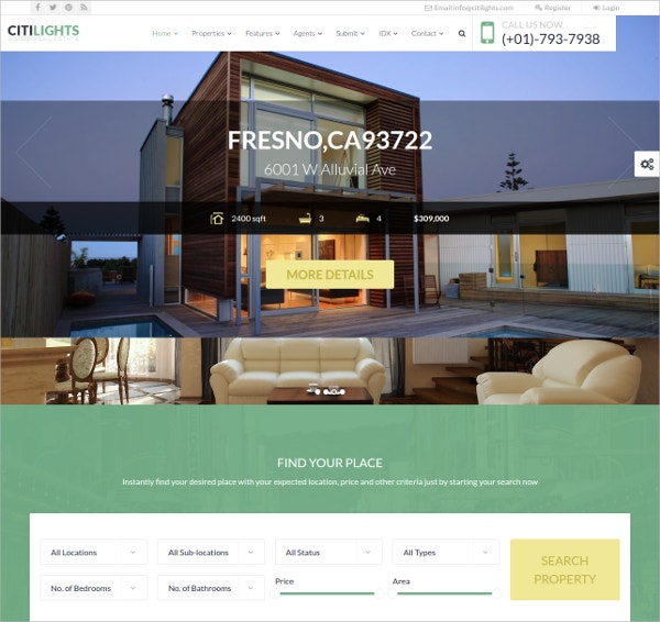 Real Estate Property WordPress Theme $59