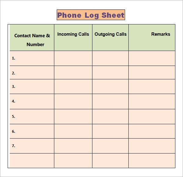 Phone Call Log Templates Phone Call Log Template  Best Call Log