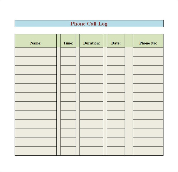 Phone Log Template   Free Word Pdf Documents Download  Free