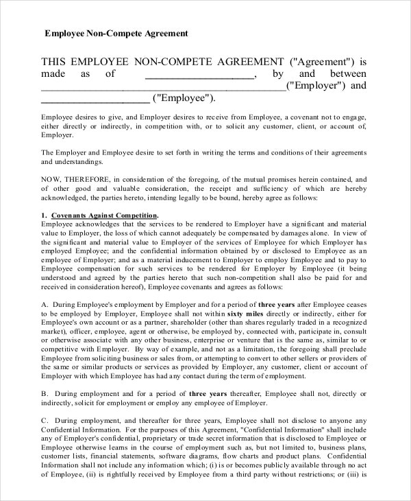 blank form of non compete agreement
